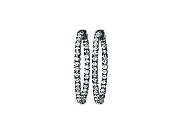 CZ 35mm Round Prong Set .05 Inside Out Hoop Earrings in Black Rhodium over Sterling Silver