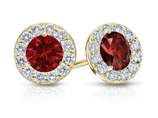 Created Ruby and CZ Halo Stud Earrings in 14K Yellow Gold 1.50.ct.tw