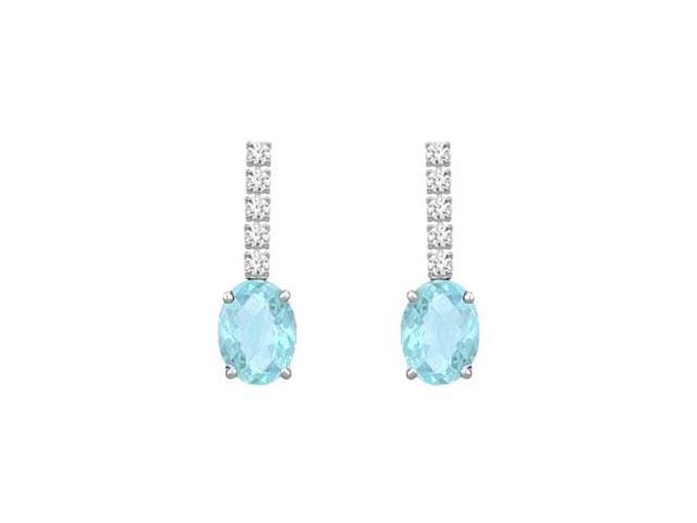 Diamond and Aquamarine Earrings  14K White Gold - 1.25 CT TGW