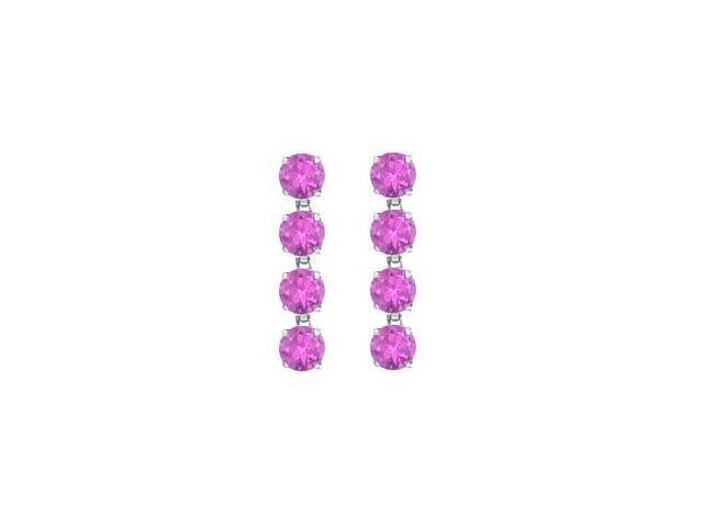 Amethyst Drop Earrings in Rhodium Plating 925 Sterling Silver 8 Carat Total Gem Weight