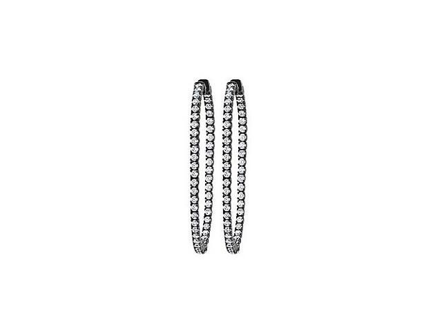 CZ 50mm Round Prong Set .05 Inside Out Hoop Earrings in Black Rhodium over Sterling Silver