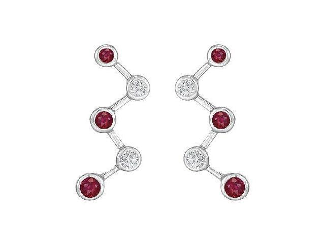 Ruby and Diamond Earrings  14K White Gold - 1.00 CT TGW