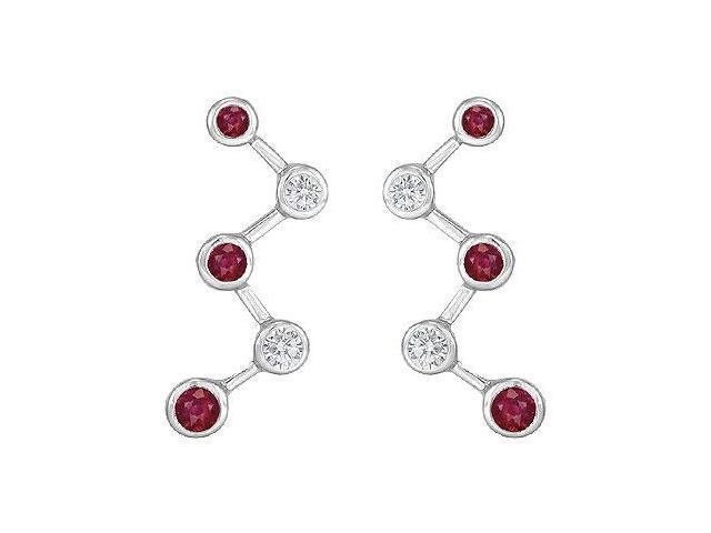 Ruby and Diamond Earrings  14K White Gold - 1.00 CT TGW