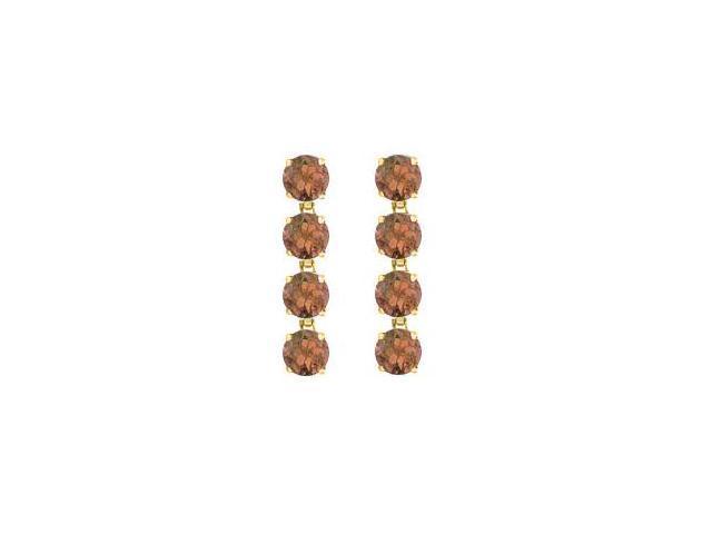 Smoky Quartz Drop Earrings of Eight Carat Total Gem Weight Prong Set in 14K Yellow Gold