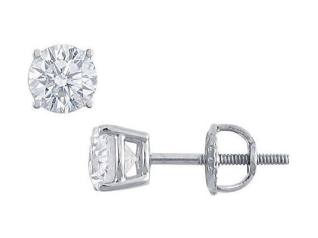 Platinum  Round Diamond Stud Earrings  1.00 CT. TW.