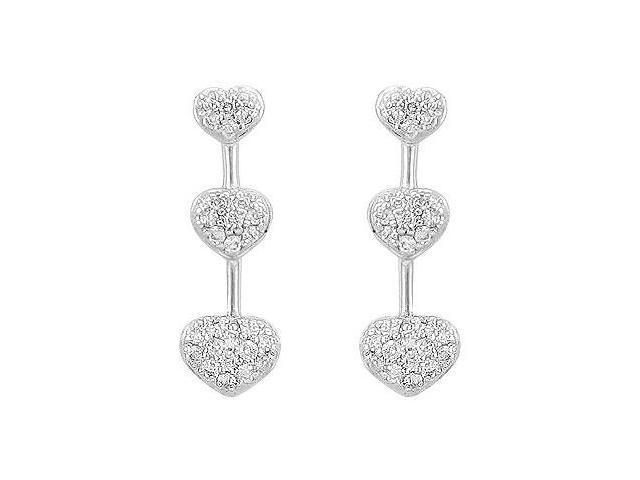 Diamond Heart Journey Earrings  14K White Gold - 0.50 CT Diamonds