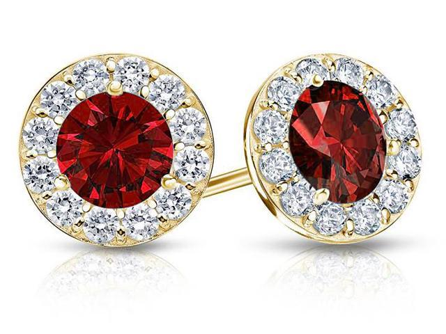 Created Ruby and CZ Halo Stud Earrings in 14K Yellow Gold 2.00.ct.tw