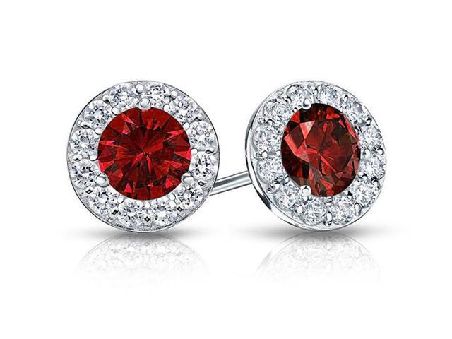 Created Ruby and CZ Halo Stud Earrings in Sterling Silver 1.50.ct.tw