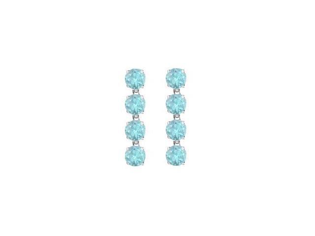 925 Sterling Silver Round Created Aquamarine Drop Earrings with Eight Carat Total Gem Weight