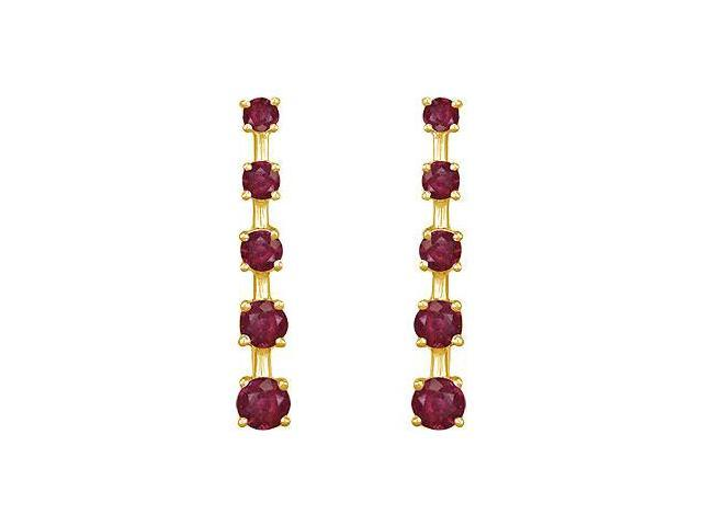 Ruby Journey Earrings  14K Yellow Gold - 2.00 CT TGW