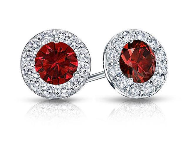 Created Ruby and CZ Halo Stud Earrings in Sterling Silver 2.00.ct.tw