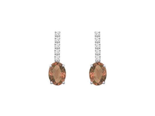 Diamond and Smoky Topaz Earrings  14K White Gold - 1.25 CT TGW