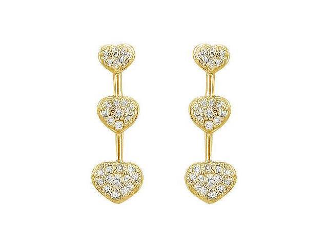 Diamond Heart Journey Earrings  14K Yellow Gold - 0.50 CT Diamonds