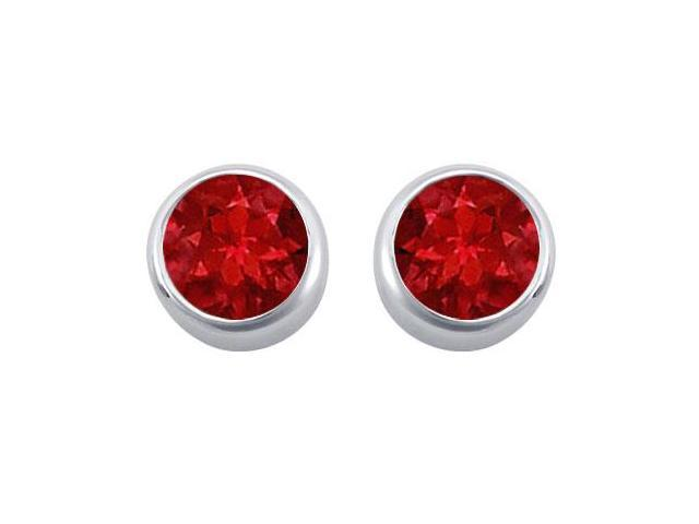 Created Ruby Solitaire Stud Earrings in 14kt White Gold 2.00.ct.tgw