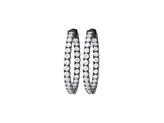 CZ 35mm Round Prong Set .10 Inside Out Hoop Earrings in Black Rhodium over Sterling Silver