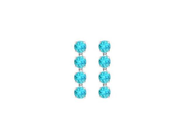 8 Carat Round Created Blue Topaz Drop Earrings in Rhodium Plating 925 Sterling Silver Prong Set
