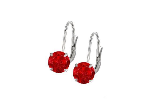 Leverback Earrings in 14K White Gold with Ruby Gemstone 2.00 CT TGWPerfect Jewelry Gift