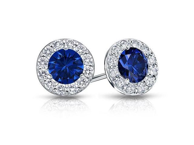Created Sapphire and CZ Halo Stud Earrings in Sterling Silver 1.00.ct.tw