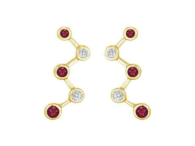 Ruby and Diamond Earrings  14K Yellow Gold - 1.00 CT TGW
