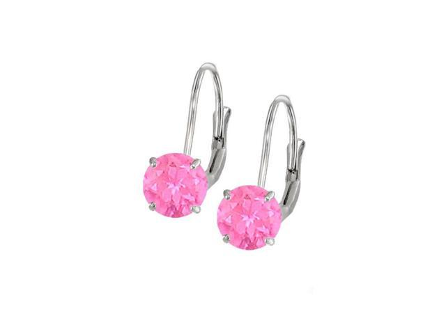 Leverback Earrings 14K White Gold with Pink Sapphire Gemstone 2.00 CT TGW Perfect Jewelry Gift
