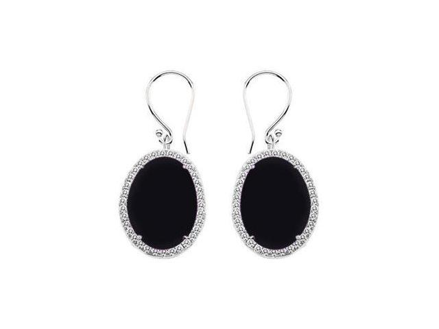 14K White Gold Black Onyx and Diamond Earrings 31.00 CT TGW