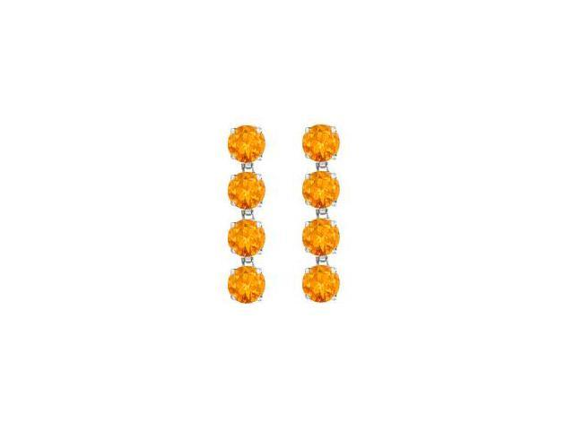 Drop Earrings Round Cut Citrine in Rhodium Plating 925 Sterling Silver 8 Carat Total Gem Weight