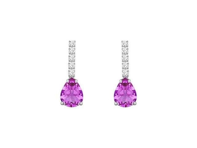 Diamond and Amethyst Earrings  14K White Gold - 1.25 CT TGW