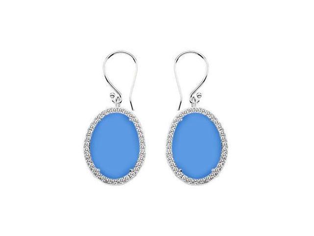 14K White Gold Blue Chalcedony and Diamond Earrings 31.00 CT TGW
