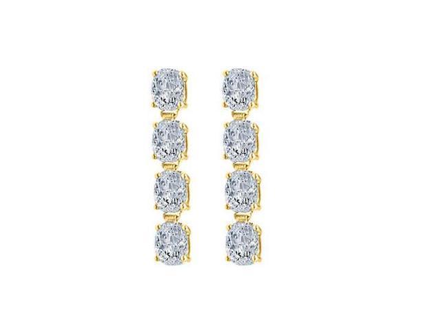 Drop Earrings Oval Cut Triple AAA Quality CZ in 14K Yellow Gold Eight Carat Total Gem Weight