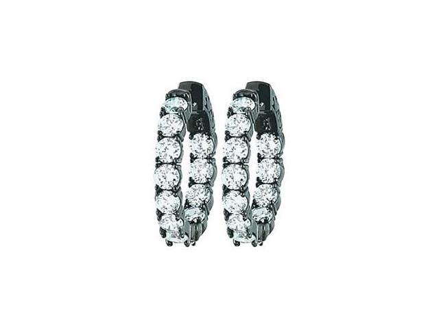 CZ 23mm Round Prong.15 Inside Out Hoop Earrings in  Black Rhodium over Sterling Silver