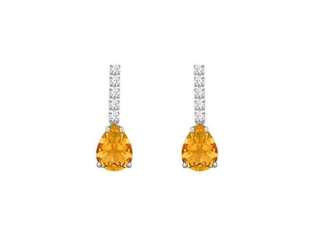 Diamond and Citrine Earrings  14K White Gold - 1.25 CT TGW