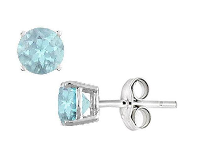 Created Aquamarine Stud Earrings in Sterling Silver 2.00 CT TGW