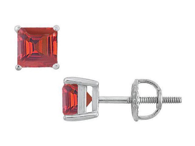 Ruby Stud Earrings  14K White Gold - 2.00 CT TGW