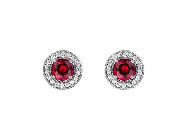 July Birthstone Created Ruby and CZ Halo Stud Earrings in 14kt White Gold 2.25 CT TGW