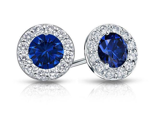 Created Sapphire and CZ Halo Stud Earrings in Sterling Silver 2.00.ct.tw