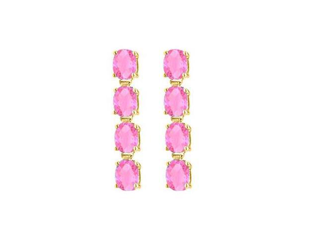 Created Pink Topaz Drop Earrings Oval Cut in 14K Yellow Gold Total Gem Weight of Eight Carat