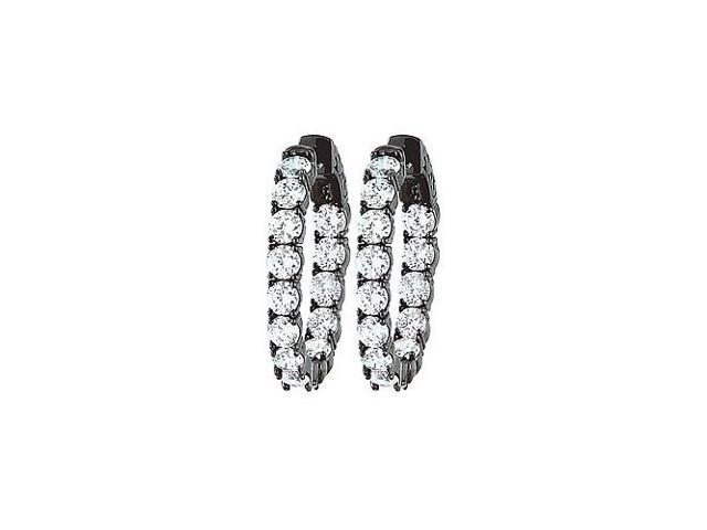 CZ 30mm Round Prong.15 Inside Out Hoop Earrings in  Black Rhodium over Sterling Silver
