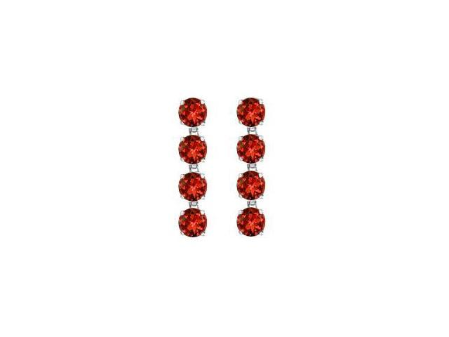 Totaling Eight Carat Round Garnet Drop Earrings in Rhodium Plating 925 Sterling Silver Prong Set