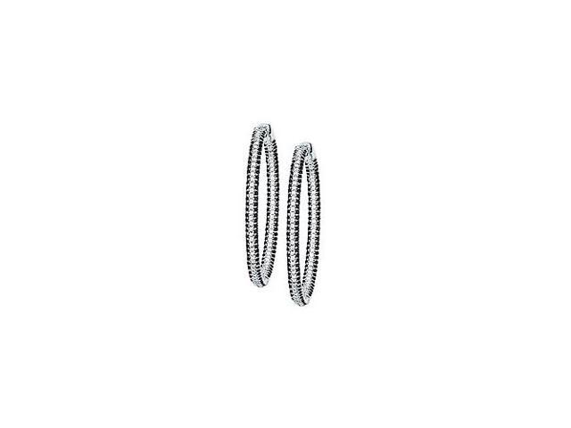 CZ 50mm Black and White Inside Out Hoop Earrings in Black Rhodium over Sterling Silver
