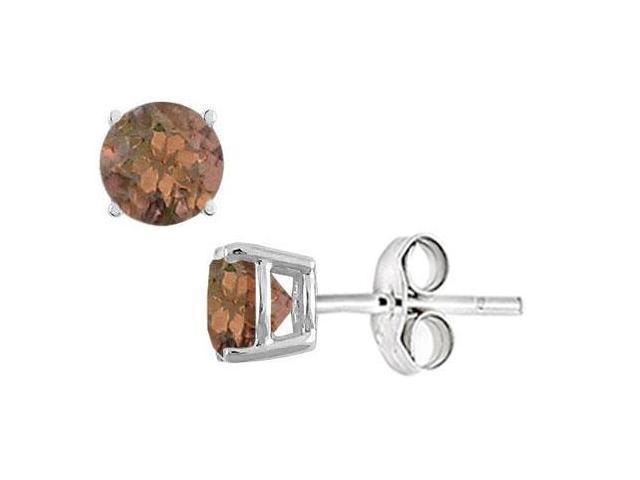 Smoky Topaz Stud Earrings in Sterling Silver 2.00 CT TGW
