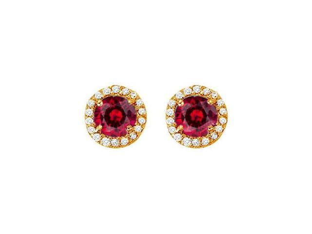 July Birthstone Created Ruby and CZ Halo Stud Earrings in 14kt Yellow Gold 2.25 CT TGW