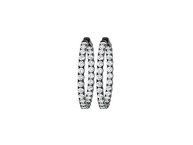 CZ 39mm Round Prong.15 Inside Out Hoop Earrings in  Black Rhodium over Sterling Silver