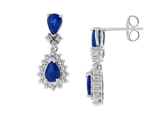 Blue Sapphire and Diamond Earrings  14K White Gold - 2.50 CT TGW