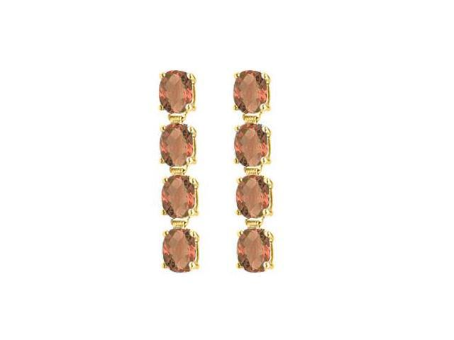 14K Yellow Gold Drop Earrings of Oval Cut Smoky Quartz with Total Gem Weights of Eight Carat