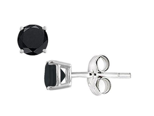 Black Onyx Stud Earrings in Sterling Silver 2.00 CT TGW