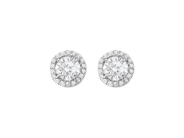 April Birthstone Cubic Zirconia Halo Stud Earrings in 14kt White Gold 2.25 CT TGW
