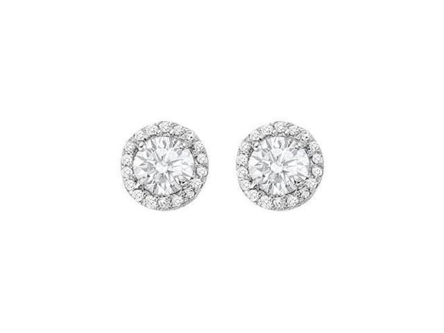 April Birthstone Cubic Zirconia Halo Stud Earrings in 14kt White Gold 2.25 CT TGW