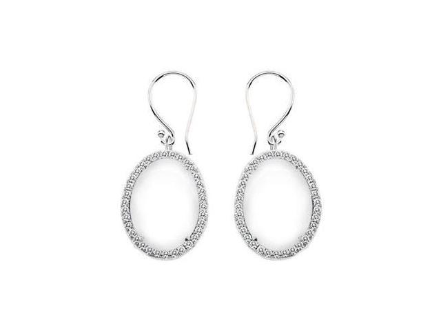 14K White Gold White Agate and Diamond Earrings 31.00 CT TGW