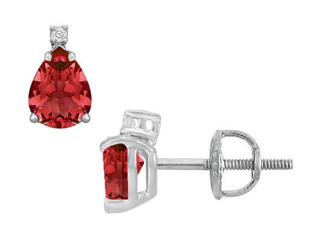 Diamond and Ruby Stud Earrings  14K White Gold - 2.04 CT TGW