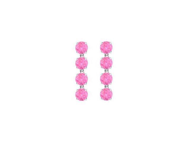 Rhodium Plating 925 Sterling Silver Created Pink Topaz Drop Earrings Eight Carat TGW
